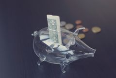 Glass piggy bank. And dollar Royalty Free Stock Photography