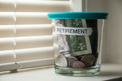 Retirement planning fund in a jar Royalty Free Stock Photography