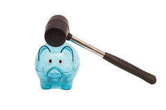 Glass piggy bank and  hammer Stock Image