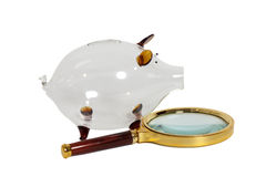 Glass Piggy bank with magnifying glass. Isolated on white royalty free stock photography