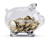 Glass Piggy bank with money Royalty Free Stock Photo
