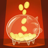 Glass piggy bank Stock Image