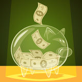 Glass piggy bank Stock Photography