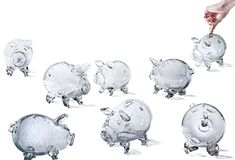 Glass Piggy Banks Royalty Free Stock Photo