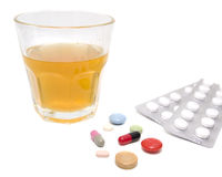 Glass and pills Stock Photo