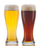 Glass of Pilsner and Dark Ale Royalty Free Stock Photography