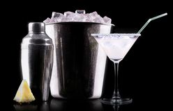 Glass of Pina Colada Cocktail Stock Photo