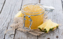 Glass with Pineapple Jam Royalty Free Stock Images