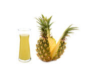 Glass of pineapple juice isolated on white Stock Photo