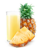 Glass of pineapple juice. Isolated on white with clipping path Stock Photos