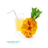 Glass with pineapple juice Royalty Free Stock Photo