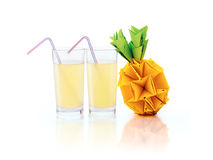 Glass with pineapple juice Stock Photo