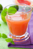 Glass of pink grapefruit juice with lemon mint Stock Image
