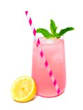 Glass of pink lemonade with mint and straw isolated Royalty Free Stock Photos