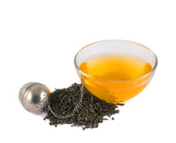 Glass piola bowl of tea isolated Royalty Free Stock Image