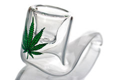 Glass pipe. For tobacco and marijuana smoking royalty free stock photo