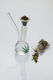 Glass pipe with marijuana Royalty Free Stock Images