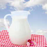 Glass pitcher full of milk Stock Image