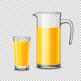 Glass And Pitcher With Orange Juice On Transparent Background. Glass and pitcher with orange juice design concept in realistic style on transparent  background Stock Photo