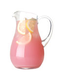 Glass Pitcher Of Pink Lemonade Isolated