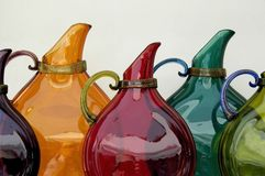 Glass Pitchers. Display of glass pitchers in outdoor market Royalty Free Stock Photo