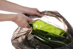 Glass in plastic bag Stock Photo