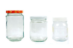 Glass and plastic containers. Isolated on white background Stock Image