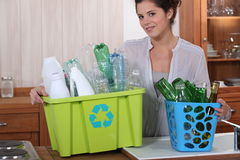Glass and plastic recycling Stock Photos