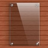 Glass plate on the background wall of wooden planks. Vector illustration Stock Photos