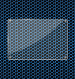 Glass plate on Blue aluminum Technology background Stock Images