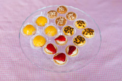 Glass plate with candies Stock Photo
