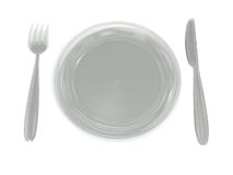 Glass plate, fork, knife Royalty Free Stock Photo