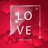 The glass plate with hearts. Love. Designed for the day of Valentine Stock Photo