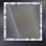 Glass plate with metal frame Stock Photos