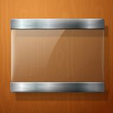 Glass plate with metal holders, for your signs, on Stock Photography