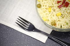 Glass plate of noodles, soft focuse royalty free stock photos