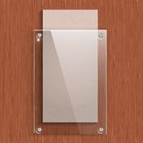 The glass plate with a paper on the background of mahogany wood texture. Vector illustration Stock Photography