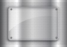 Glass plate on perforated metal background background. Glass plate on a perforated metal background background stock illustration