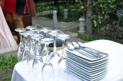 GLASS PLATE AND RECEPTION. Stemware Morgon and saucers breakable presentations are an important link in the success of a wedding reception royalty free stock photography