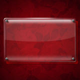 Glass Plate on Red Roses Background Stock Photos