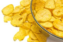 Glass plate with ruffles chips closeup. Plate with ruffles potato chips closeup on white background stock image