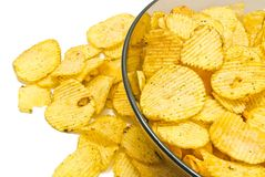 Glass plate with ruffles potato chips. Plate with ruffles chips closeup on white background stock image