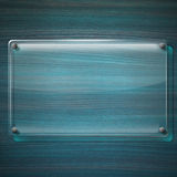 Glass Plate on Turquoise Wood Background Royalty Free Stock Photography