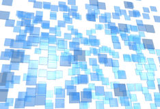 Glass Plates. Many little 3D plates blue and transparent in chaos arrangement Royalty Free Stock Photos