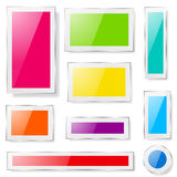 Glass plates of different colors Stock Photo