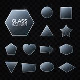 Glass plates set. Triangle square pentagon circle. Stock Photography