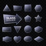 Glass plates set. Triangle, square rectangle round Stock Photos