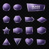 Glass plates set. Triangle, square, star, circle Stock Images
