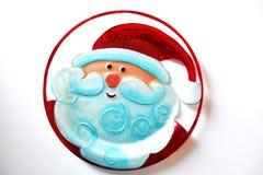 glass platta med en teckning av framsidan för Santa Claus ` s Royaltyfria Foton
