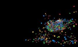 Glass platta med mycket små färgrika runda godisar Högen av sötsaker spridde på en svart bakgrund med fritt utrymme för mellanläg Royaltyfri Illustrationer